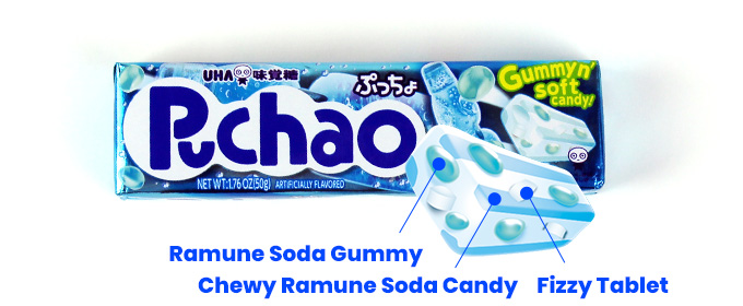 Juicy Gummy, Chewy Ramune Soda Candy, Fizzy Tablet